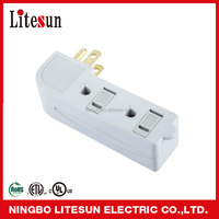 LA 07A UL CUL 3 outlets Adapter 2-flat Blade Plugs with safty sliding cover