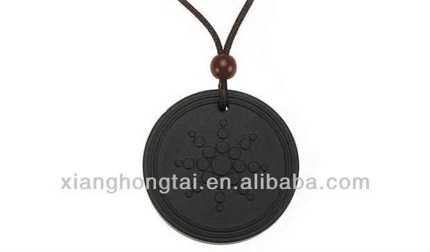 Circular shaped se quantum lava rock scalar energy pendant necklace jewelry