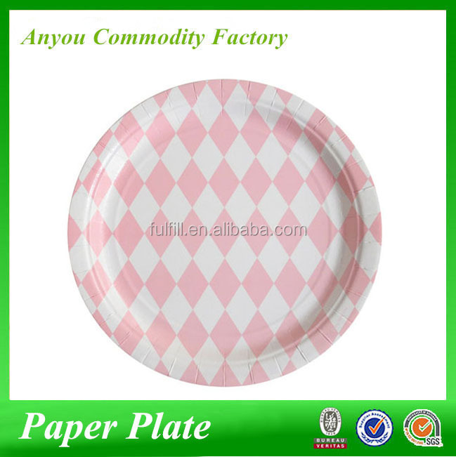 Wholesale promotion party products disposable baby pink diamond 7inch 9 inch paper plates