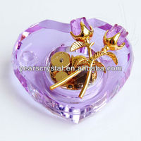New products purpl color wind up heart crystal music box with custom music (R-2067)