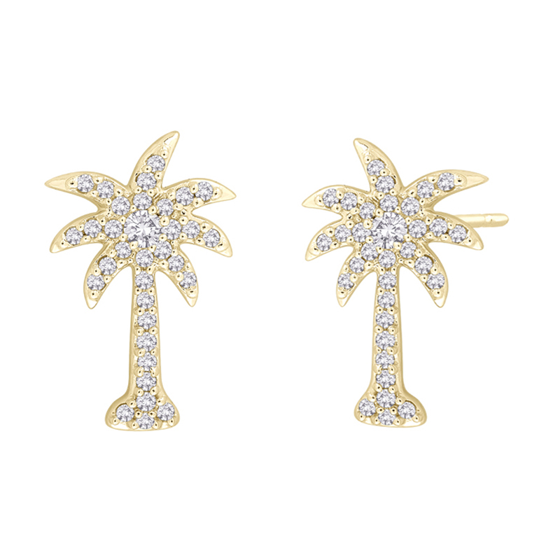 925 Sterling Silver 18K Gold Plating CZ Coconut Palm Earring