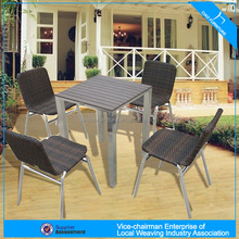 modern square PS wood dining table set 27071+643-5