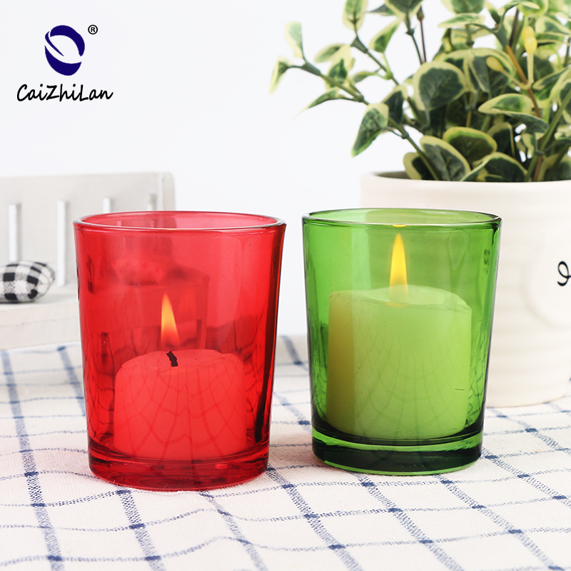 Christmas Candle Container Holders Glass Candlestick,Colored Candlesticks,Gold Plated Candlesticks