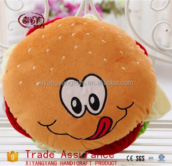 factory direct sale soft plush hamburger cushion pillow