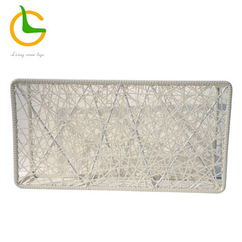 White handwoven rattan divider screen for home