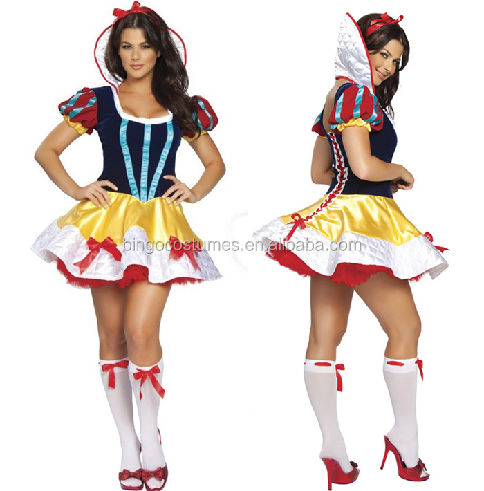 Sexy Snow White Fairy Tale Naughty Halloween Fancy Dress Costume S-4XL