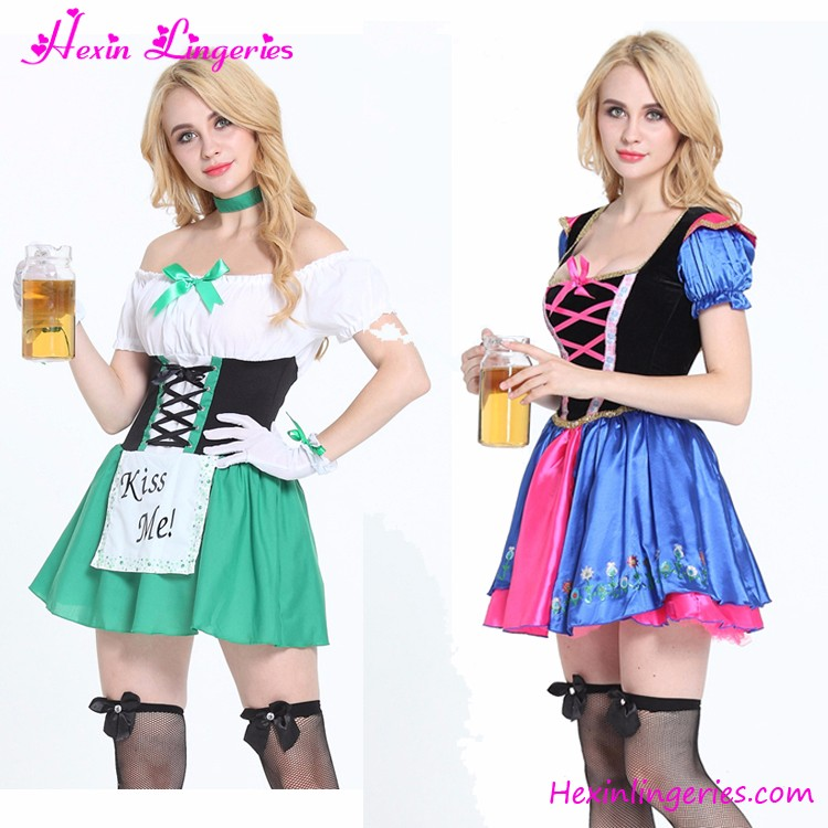 Green Slash Neck French Maid Costumes Adults Halloween Costume China Wholesale