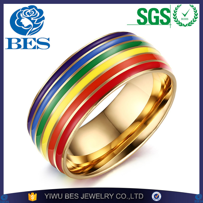 Stainless Steel Gay Pride Rings for Women Men Rainbow Jewelry Gold Plated Engagement Ring