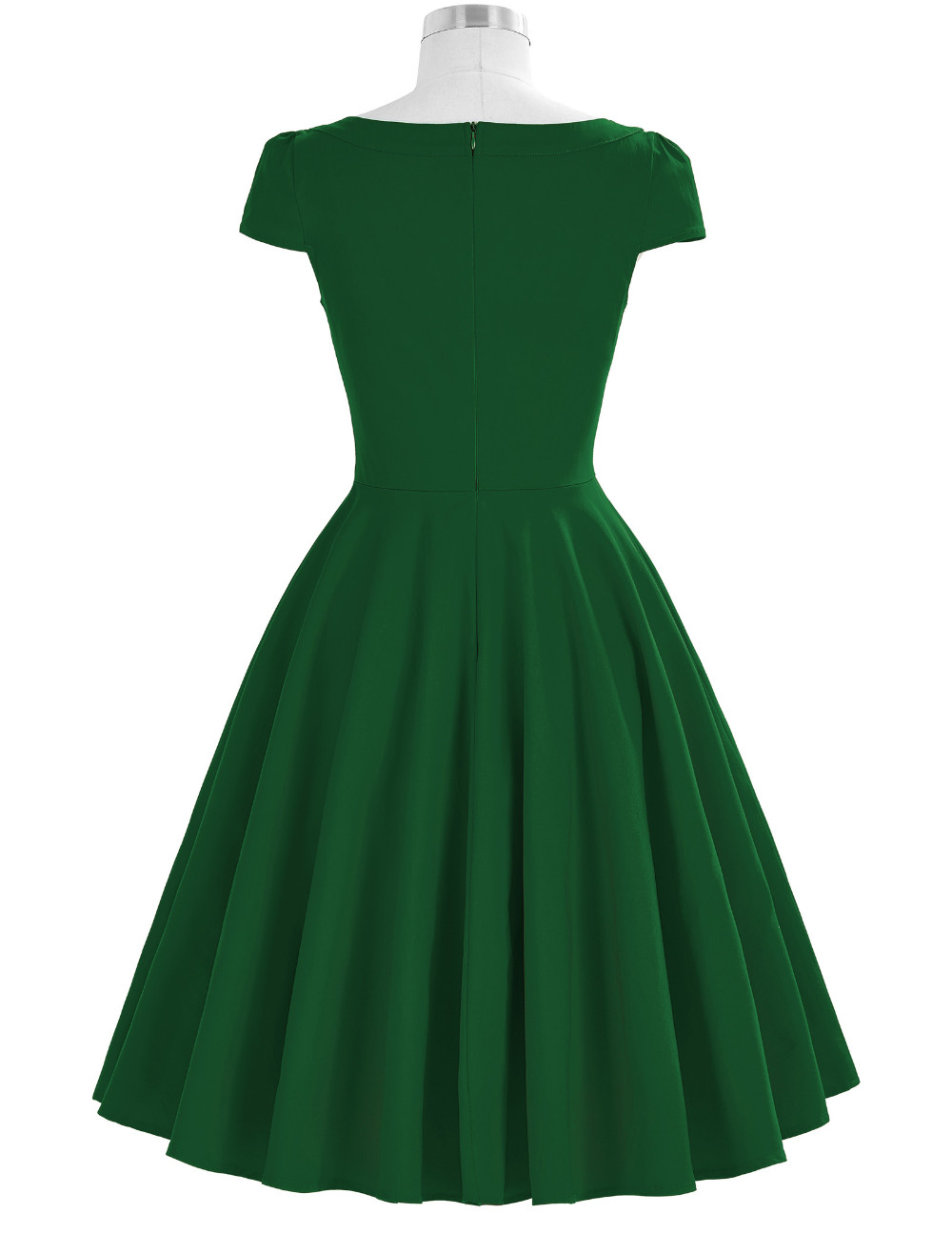 dropshipping service Belle Poque Dark Green Cap Sleeve Hollowed Front Party Picnic Dress 50s Retro Vintage Dress BP000189-3