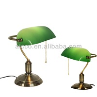 European Antique Bank Table Lamp Green Glass Brass Metal Bank Table Lamp