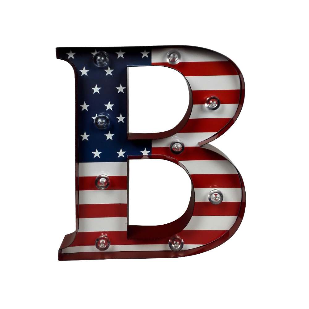 America Flag Print Decorative Light Up Metal LED Letter B Wall <strong>Art</strong>