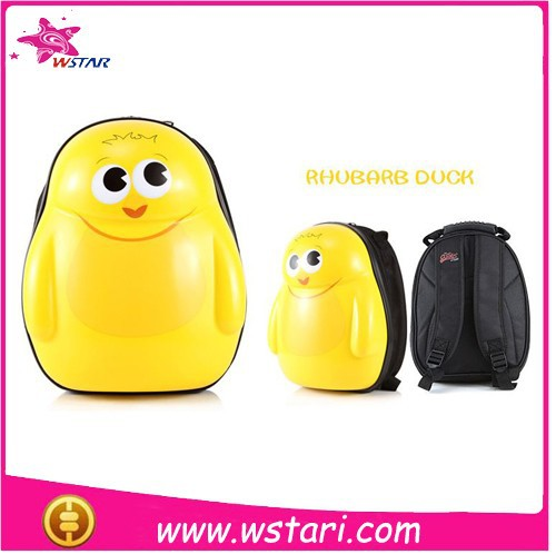 2015 Most Popular 3D Cartoon Eggshell Child School Bag,ABS+PC Child School Bags Rubber Duck