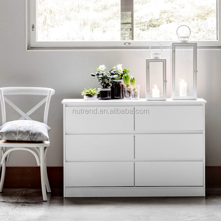 Wooden modern simple 6 chest drawers design in white design