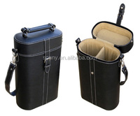 2 Bottles Custom Portable Leather Wine Case and Wine Packing Box