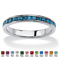 316L Stainless Steel March Birthstone Aquamarine CZ Eternity Ring