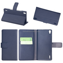 Hot design smart pu leather flip case with card slots for Huawei P7