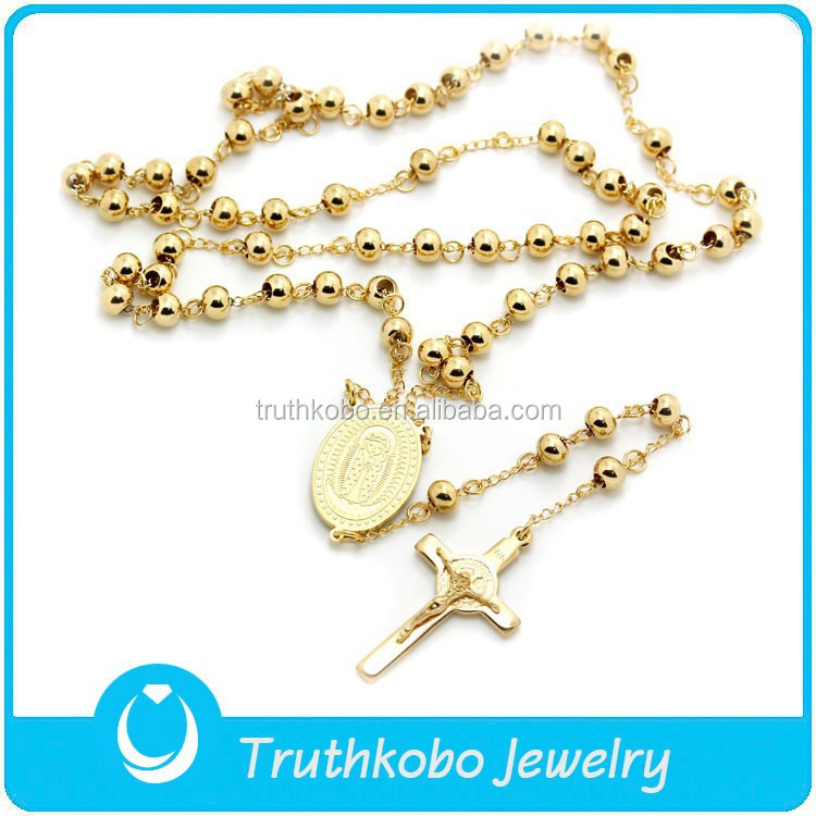 TKB-N0019 Rosary Beads Christianity Heavy Gold Chain Lady of Guadalupe Pendant Necklace