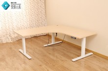 Chinese good-looking L-shape design White Melamine adjustable height office desk electric with metal legs