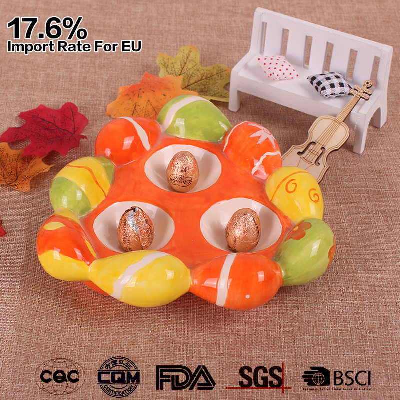 colorful hand painted easter ceramic egg holder