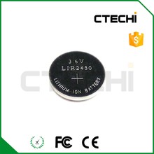 Wholesale 3.6v li-ion button cell battery lir2450 160mah coin cell