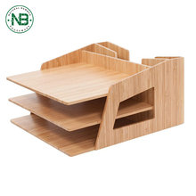 Multi function 3 tier office documents bamboo desktop file organizer