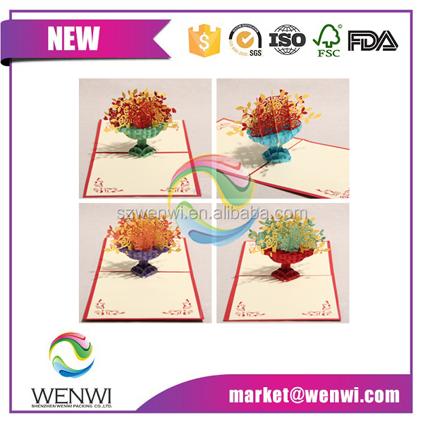 Wholesale pop up greeting card 3D flower cards