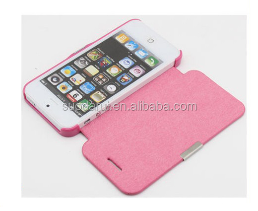 Mix Color China Factory Price Magnetic PU Leather Flip Cover Case For apple iPhone 5S