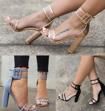 2017 Summer Fashion Lady Sexy Transparent Pumps Buckle Crystal High Heels shoes Big size 43 Women Women Thick Heel <strong>Sandals</strong>