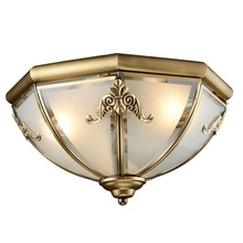 Vintage pure copper ceiling light Modern design copper ceiling lamps for room lobby Bronze light with glass shade