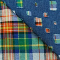 plaid base selvedge denim fabric
