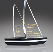 Unique design sports or graduation gift, crystal glass boat award trophy/crystal sailing trophy with good offer