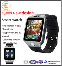 Factory Selling 3g wifi android 4.4 gsm wifi smart watch QW09 upgrade of dz09 new design bluetooth synchronization