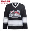 Custom Made Digital Print Black hockey jersey Cheap Team Set cut and sew hockey jersey