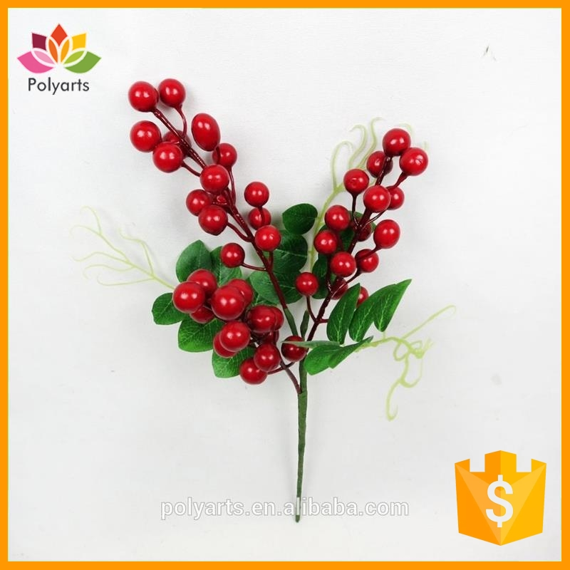 "16""L*7""W Mini Red Berry Pick, Mini Artificial Red Berry Stem, Artificial Christmas Berry Picks"