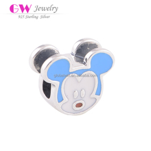 Wholesale Fine Jewelry Mickey Mouse 925 Sterling Silver Bead DIY Bracelet Charm With Enamel