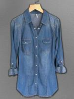 Women's Long Sleeve Double Pocket Slim-fit Jean Denim Shirt