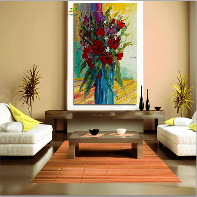 Beautiful red flowers and blue flowers oil painting wholeasle digital canvas painting free sample