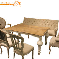 Rectangle French Antique Style 6 Seater 8 Seater White Oak Solid Wooden Dining Table