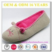 Customized new deisgn mouse shape knitted fashionable and stylish cashmere ballerina slipper