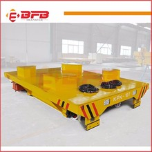 Foundry plant battery powered electric flat wagon for bay to bay transfer car
