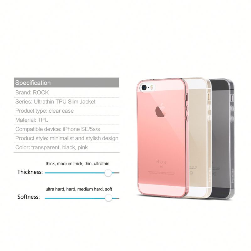 ROCK Soft TPU case for iPhone 5s SE 5, 0.6mm Ultrathin cell phone shell cover For iPhone 5s Transparent Slim back case