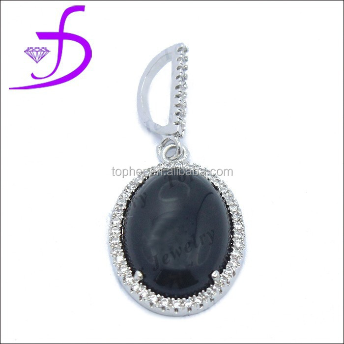 Wholesale Natural Stone Pendant Hottest Silver Jewellery black stone pendant