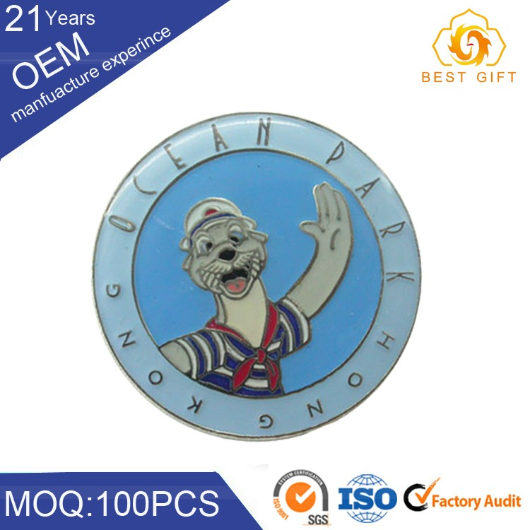 Cute safety plastic / pvc / wooden / metal materials button badge for kids