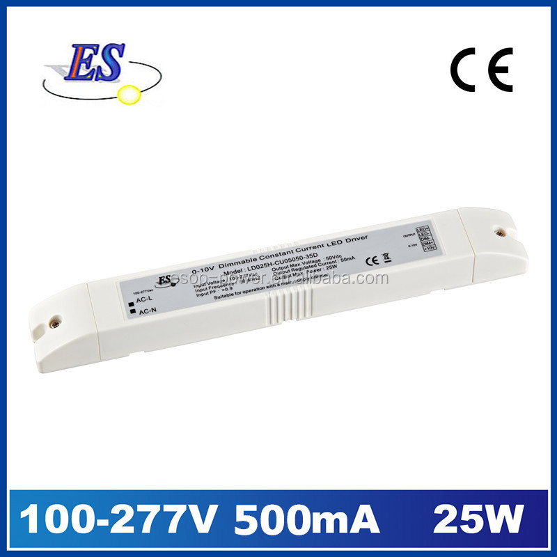 25W 500mA 50V AC-DC LED Driver power supply by 1-10V dimming with CE UL