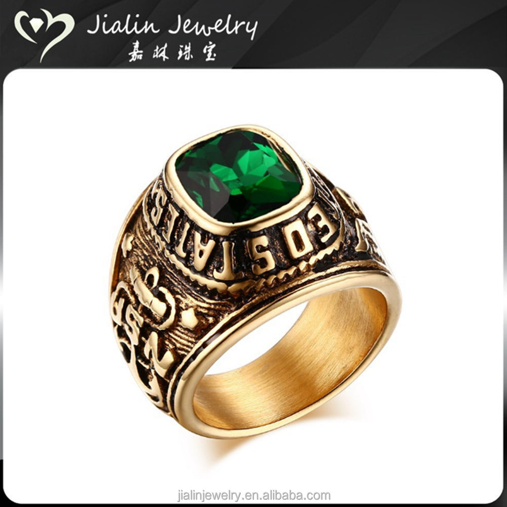 Solid stainless steel green emerald ring for mens