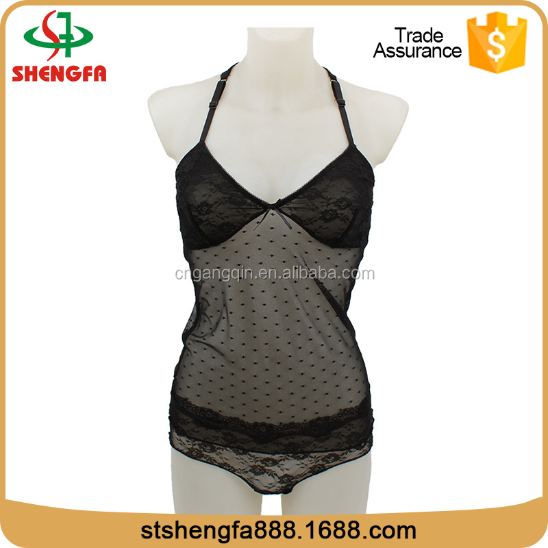 Fashionable mature black lace china lingerie nylon sexy lingerie factory