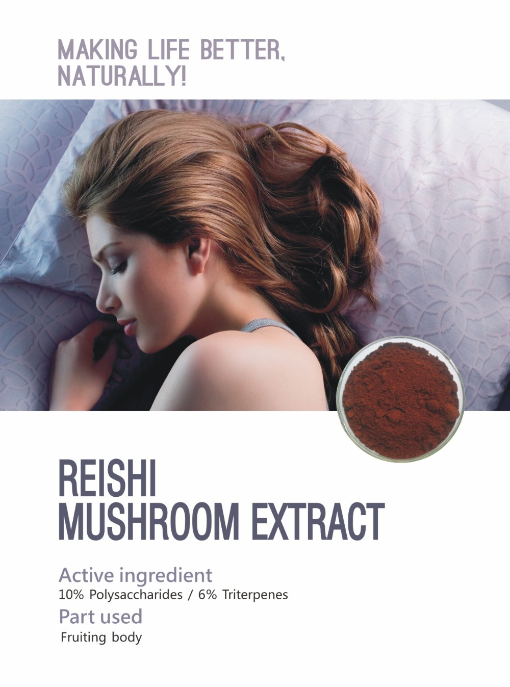 king food without auxiliaries cGMP proof factory Natural and pure reishi extract triterpenes 6% reishi mushroom extract
