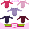 Solid Color Cotton Ruffle Kids Flutter Sleeve Bodysuit Fairy Angel Wings Tulle Long Sleeve Flutter Romper Onesie