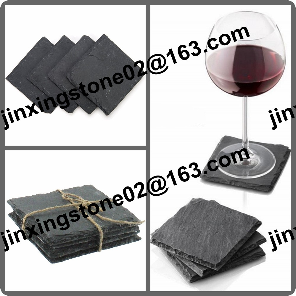 Wholesale Square Black Slate Coaster Set of 4 Natural Stone Drink Coaster