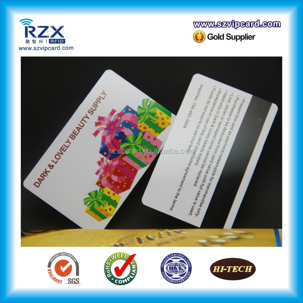 High quality multicolor PVC magnetic stripe card